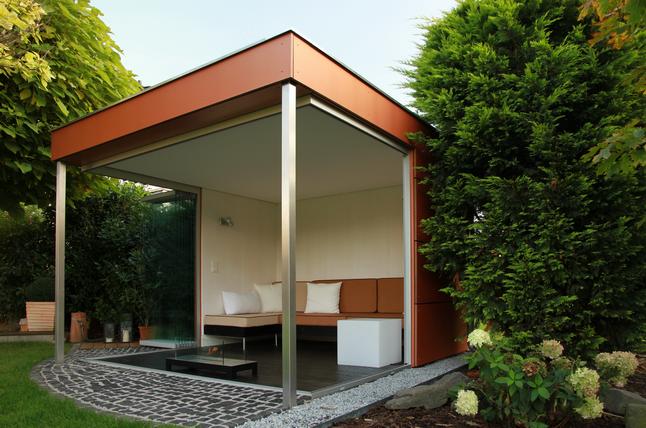 Gartenlounge überdacht  Hochwertige Garten Lounge gläserner Gartenpavillion edel